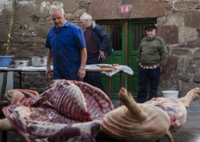 A professional butcher (in blue overalls) and some more men butcher a pig in traditional way pig slaughtering.  Doneztebe (Basque Country). December 08. 2016. The slaughter traditionally takes place in the autum and early winter and the work often is done in the open. (Gari Garaialde / Bostok Photo)