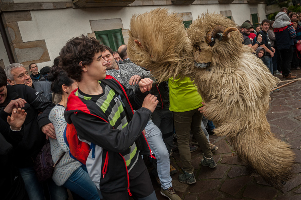 "A man dressed up as a mutton, performs frightening spectators during the celebration of an ancient traditional carnival. Ituren (Basque Country). February 1, 2016. The figure of a big mutton or a bear usually marches with the ""Joaldunak"" (""those who play the bell""). The bellringer is character that takes part in the carnival at the villages of Ituren and Zubieta carrying sheep furs and big cowbells tied to their backs looking for a good new year, a good harvest and to keep away the bad spirits. (Gari Garaialde / BostokPhoto)"