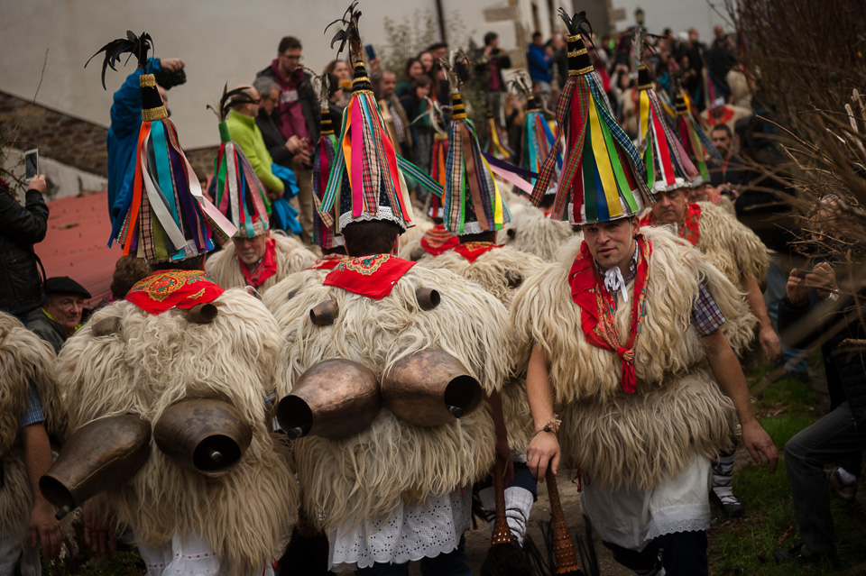 "Bellringers, known as 'Joaldunak' in Basque language, march shaking big cowbells during the celebration the traditional carnival. Ituren (Basque Country). January 30, 2017. The ""Joaldunak"" (""those who play the bell"") is a character that takes part in the carnival at the villages of Ituren and Zubieta carrying sheepskin and big cowbells tied to their backs, looking for a good new year, a good harvest and to keep away the bad spirits. (Gari Garaialde / BostokPhoto)"